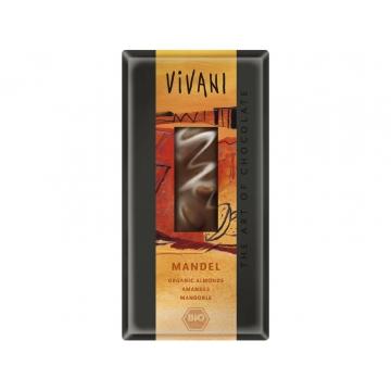Bio mléčná čokoláda s celými mandlemi VIVANI