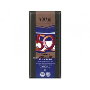 Bio mléčná čokoláda 50% s kokosovým cukrem VIVANI