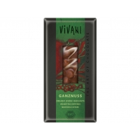 Bio mléčná čokoláda s celými oříšky VIVANI